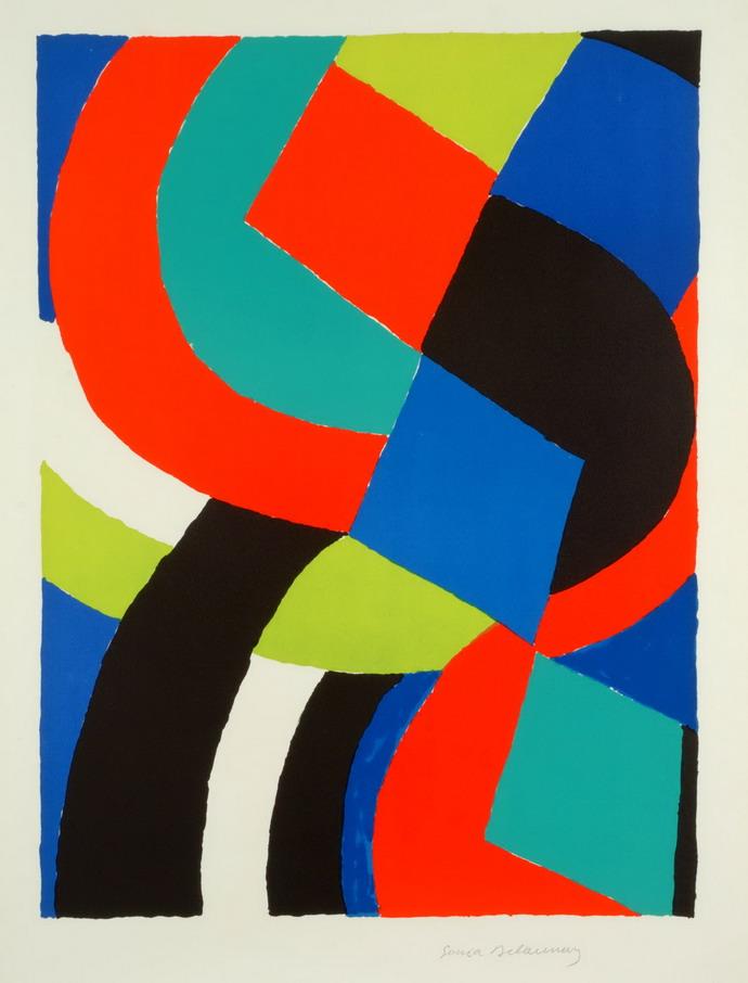 Sonia Delaunay, Valet carreau, 70.léta, litografie