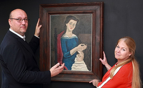 Hejtmánkovi s obrazem Švadlena F. Muziky (Foto: I. Kahún)