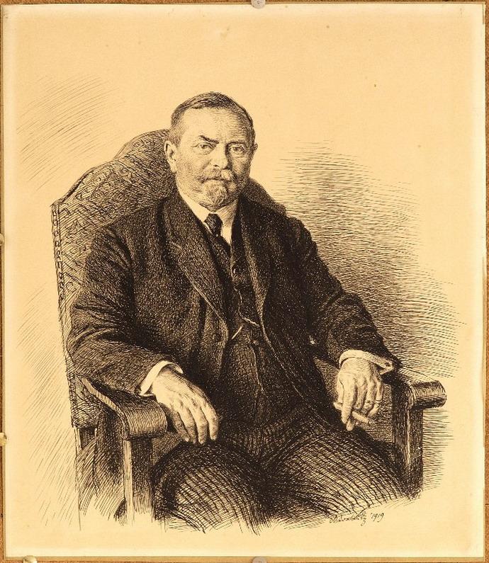 Max Švabinský, Podobizna stavitele Jurečky (1919), perokresb