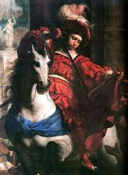 Detail obrazu Sv. Martin se dělí o plášť (1645 – NG Praha)