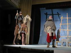 Don Quijote (B. Polívka) na koni.